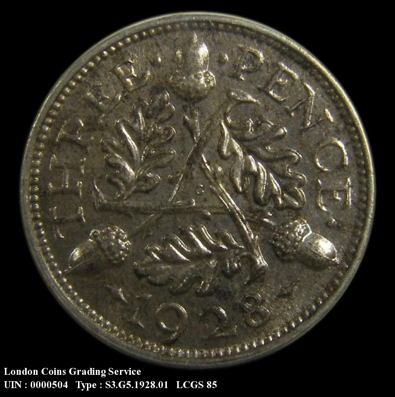 Silver 3d 1928 George V. Standard type - Reverse