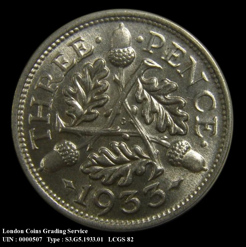 Silver 3d 1933 George V. Standard type - Reverse