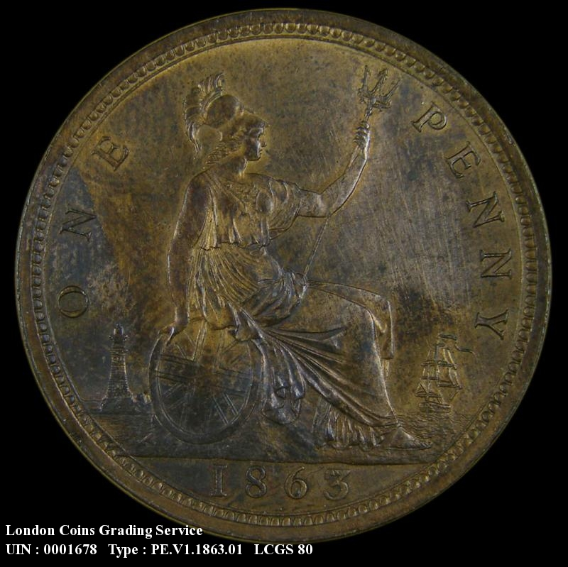 Penny 1863 Victoria. dies 6+G - Reverse