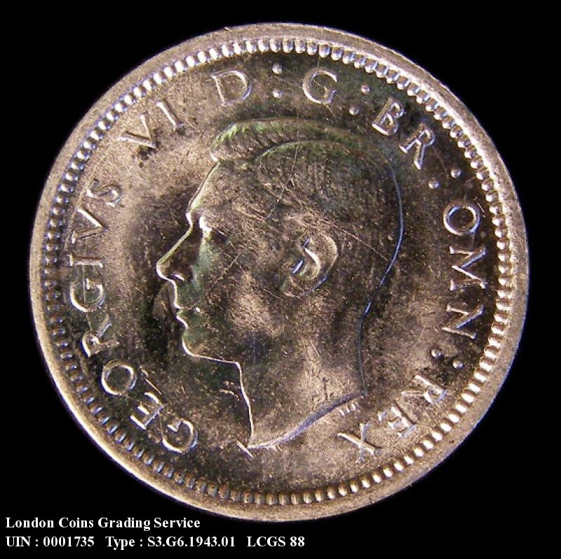 Silver 3d 1943 George VI. Standard type - Obverse