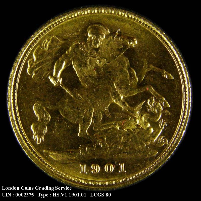 Gold ½ Sovereign 1901 Victoria. London Mint - Reverse