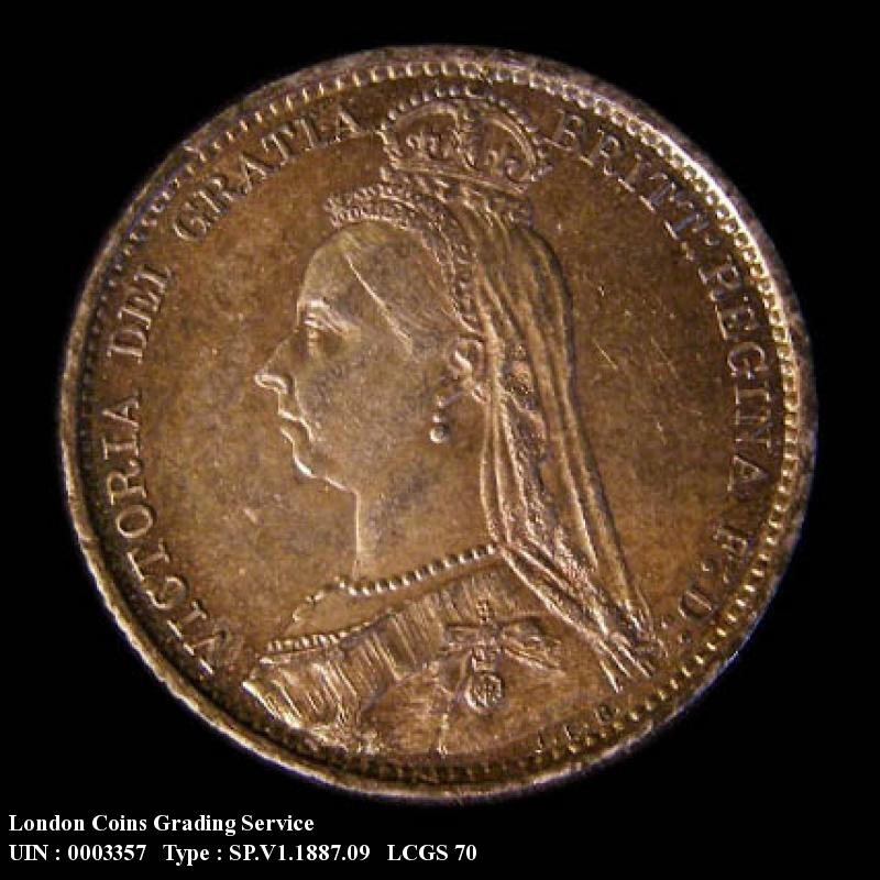 Sixpence 1887 Victoria. Revised type - Obverse
