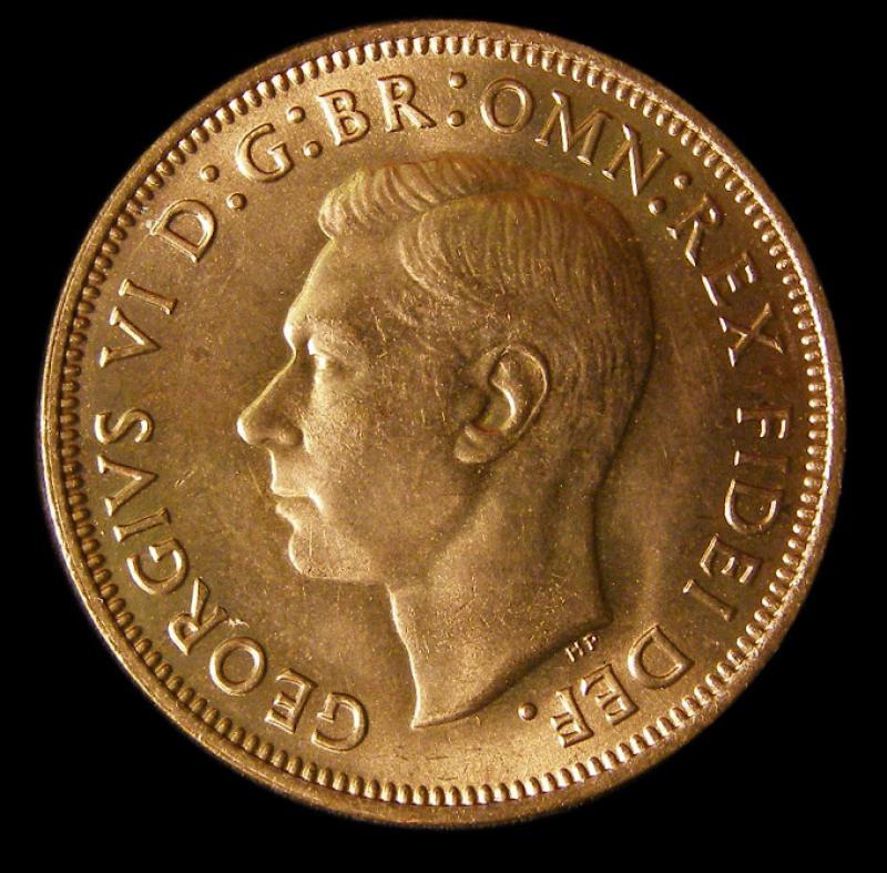 Halfpenny 1952 George VI. Dies 2+P - Obverse