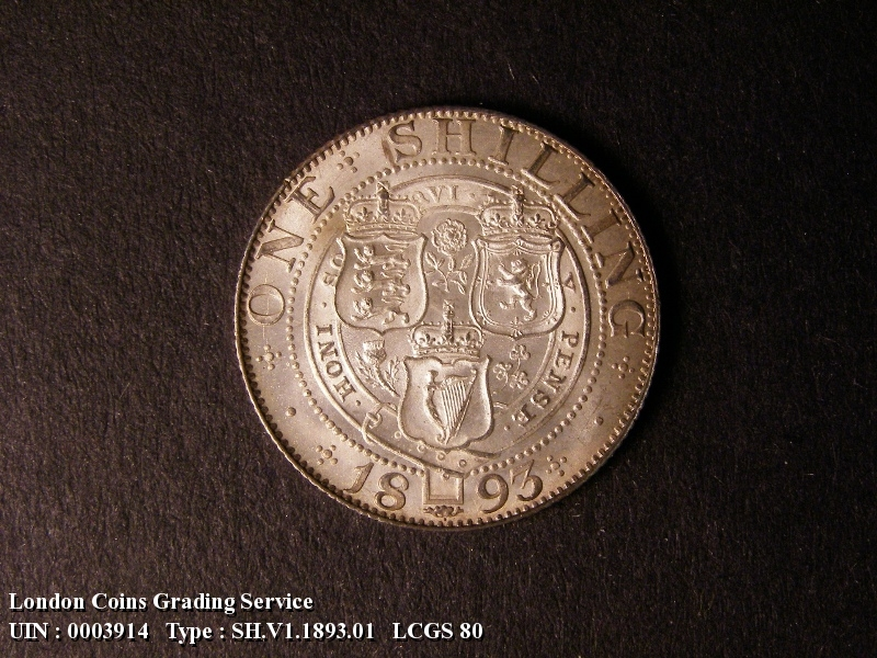Shilling 1893 Victoria. Dies 1A. Small Obverse Letters. First I of VICTORIA points almost to a bead. - Reverse