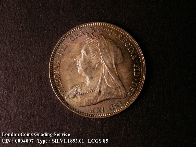Shilling 1893 Victoria. Dies 1A. Small Obverse Letters. First I of VICTORIA points almost to a bead. - Obverse