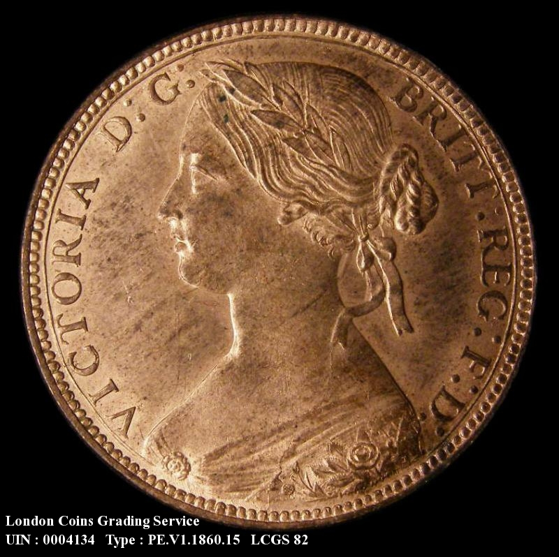 Penny 1860 Victoria. Toothed Border. Dies 2+D. Last three letters of BRITT out of alignment. L.C.WYON distinctly clear of the border. Reverse L.C.W below shield - Obverse