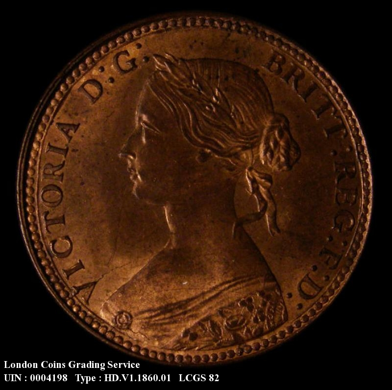 Halfpenny 1860 Victoria. Beaded Border Dies 1+A - Obverse