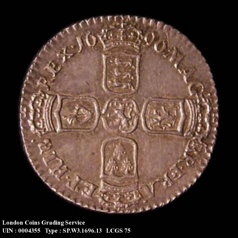 Sixpence 1696 William III. First Bust Early Harp Large Crowns y below bust - Reverse