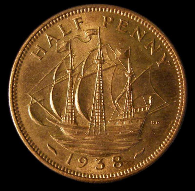 Halfpenny 1938 George VI. dies 1+B - Reverse