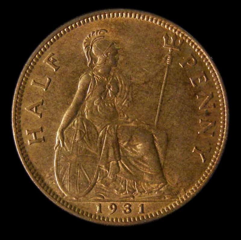 Halfpenny 1931 George V. Dies 3+B - Reverse