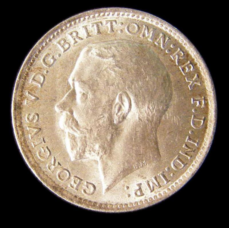 Silver 3d 1918 George V. Standard type - Obverse