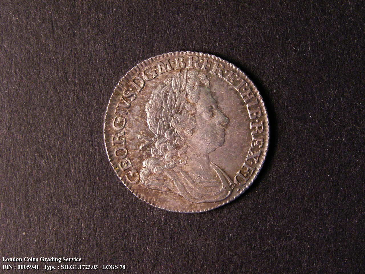 Shilling 1723 George I. First Bust. C over SS between second and third quarter - Obverse