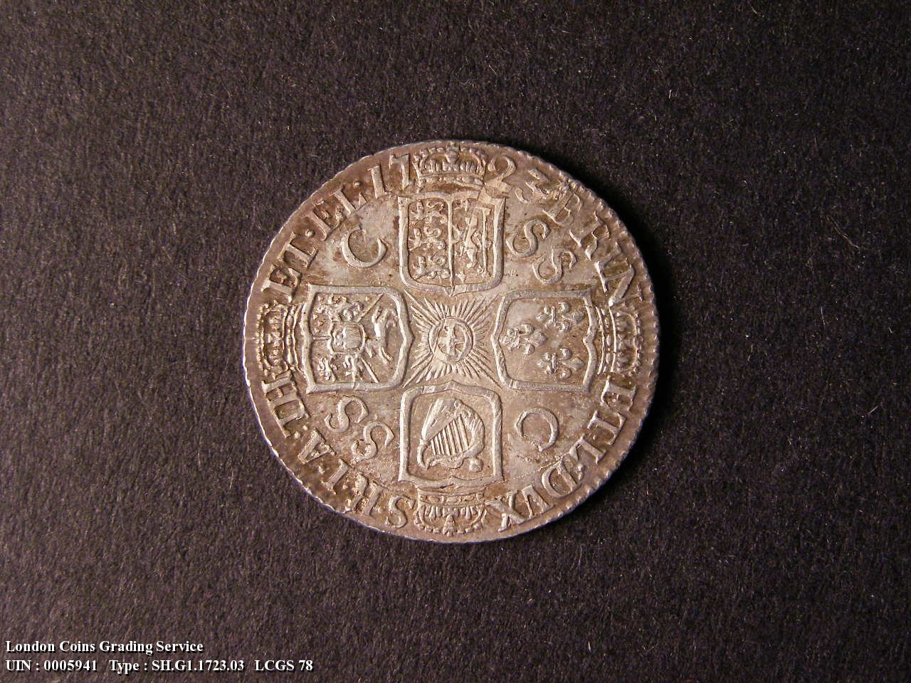 Shilling 1723 George I. First Bust. C over SS between second and third quarter - Reverse