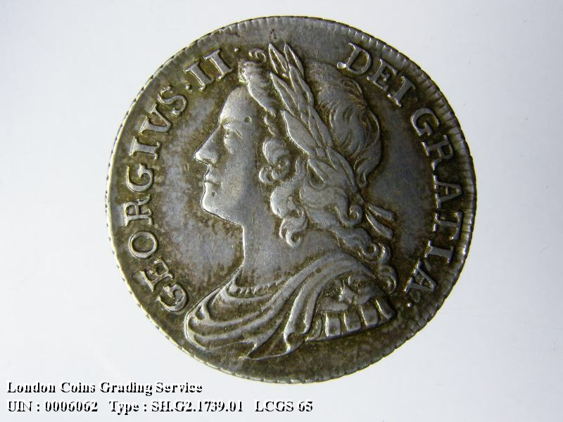 Shilling 1739 George II. Roses in angles - Obverse
