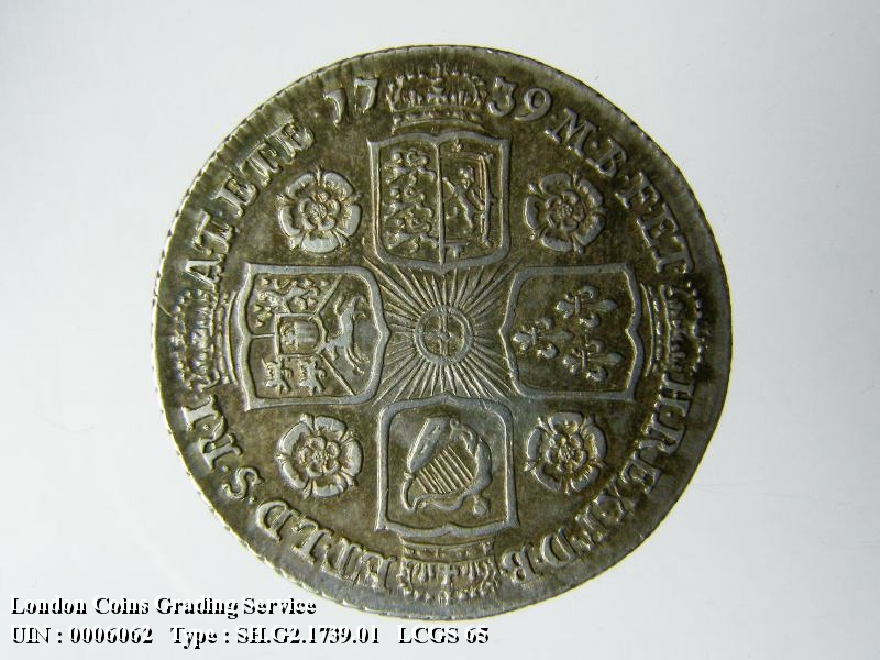 Shilling 1739 George II. Roses in angles - Reverse