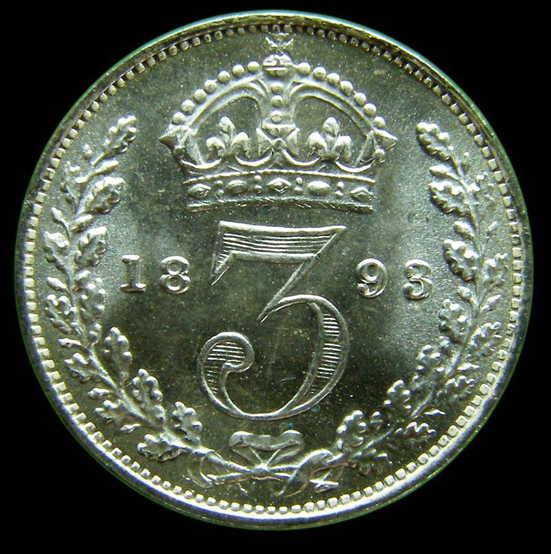 Silver 3d 1893 Victoria. Veiled Head dies 1A - Reverse