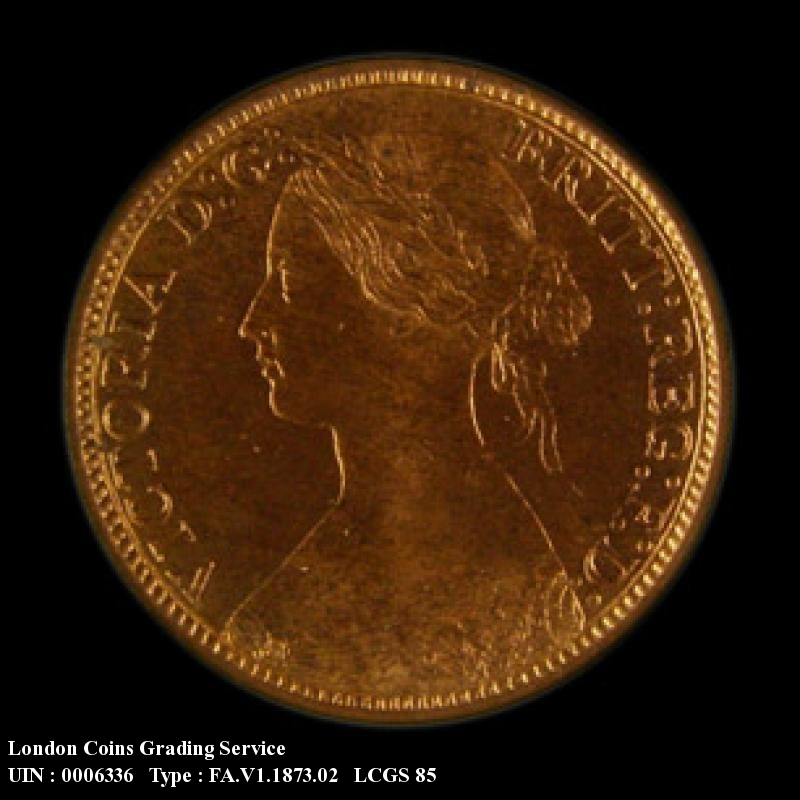Farthing 1873 Victoria. Low 3 in date. Dies 3+B (Note : 3 touches linear circle) - Obverse