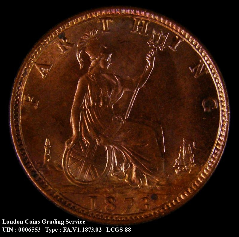 Farthing 1873 Victoria. Low 3 in date. Dies 3+B (Note : 3 touches linear circle) - Reverse