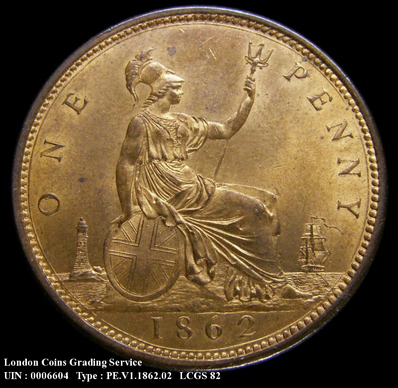 Penny 1862 Victoria. dies 6+G - Reverse