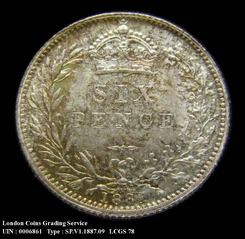 Sixpence 1887 Victoria. Revised type - Reverse