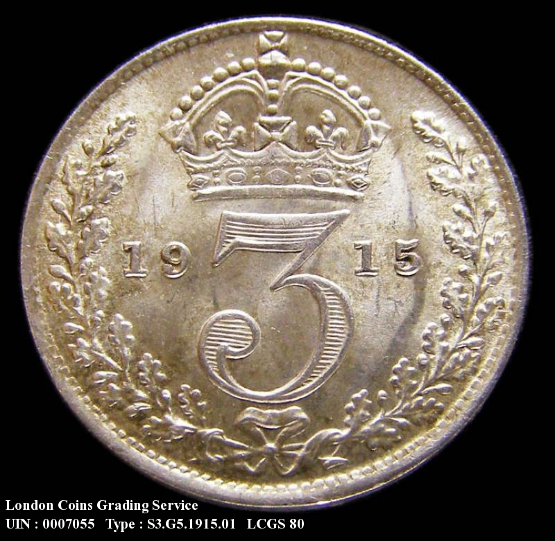 Silver 3d 1915 George V. Standard type - Reverse