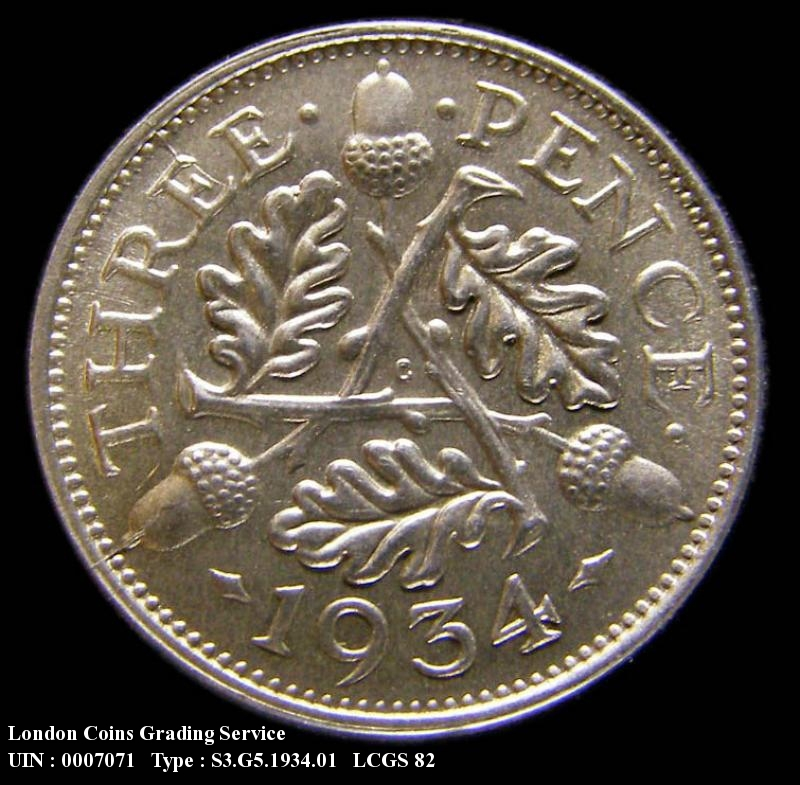 Silver 3d 1934 George V. Standard type - Reverse