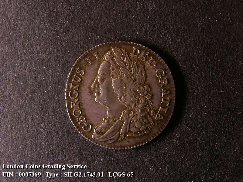 Shilling 1743 George II. Roses - Obverse