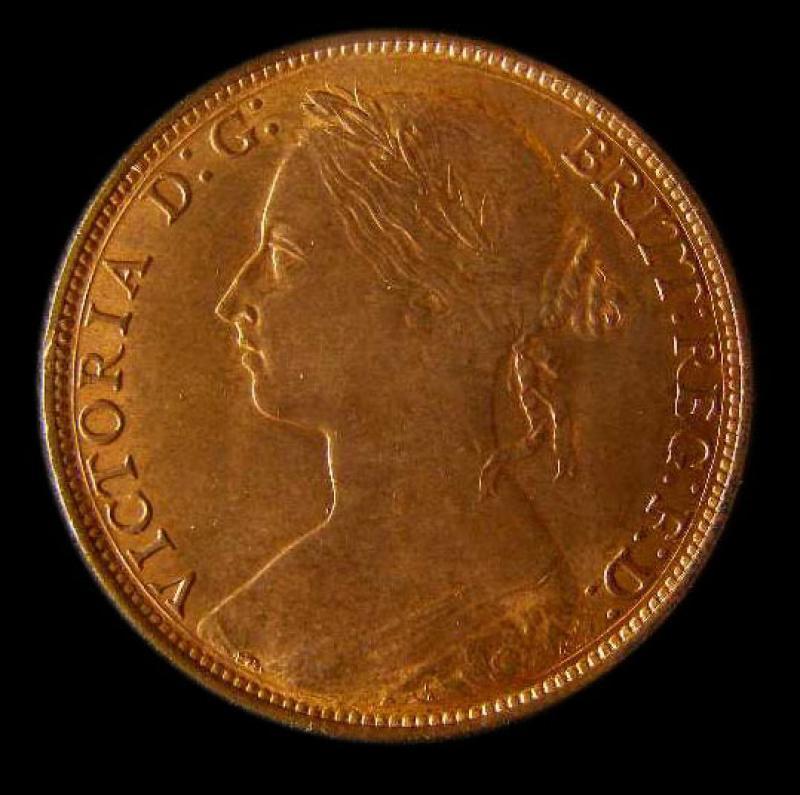 Penny 1882 Victoria. H. Dies 12+N - Obverse