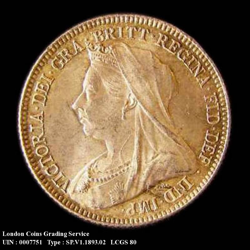 Sixpence 1893 Victoria. Veiled Head dies 1A - Obverse