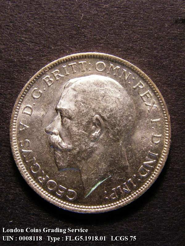 Florin 1918 George V. 2nd 1 in date right of bead - Obverse