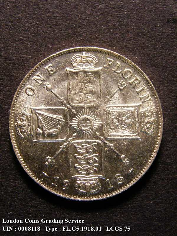Florin 1918 George V. 2nd 1 in date right of bead - Reverse