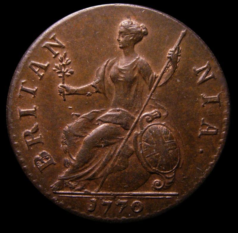 Halfpenny 1770 George III. Reverse A - Reverse