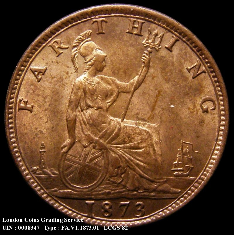 Farthing 1873 Victoria. High 3 in date Dies 3+B (Note: 3 clear of linear circle) - Reverse
