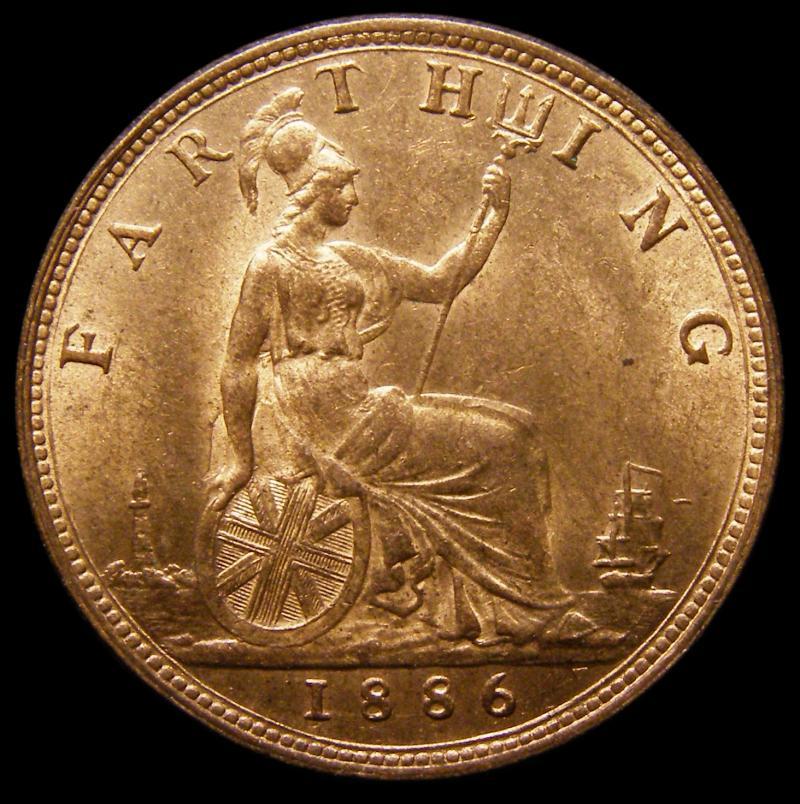 Farthing 1886 Victoria. Dies 7+F - Reverse