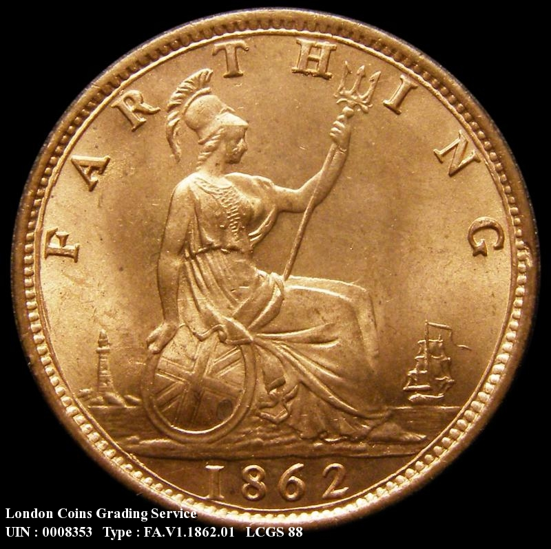 Farthing 1862 Victoria. Small 8 in date - Reverse