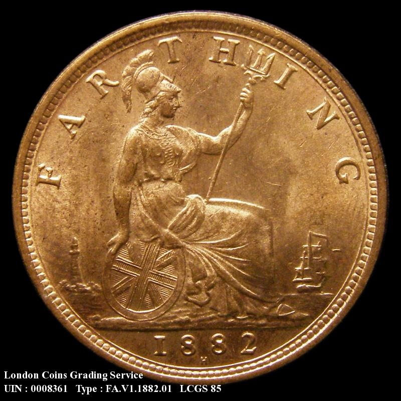 Farthing 1882 Victoria. Broken F in F:D: - Reverse