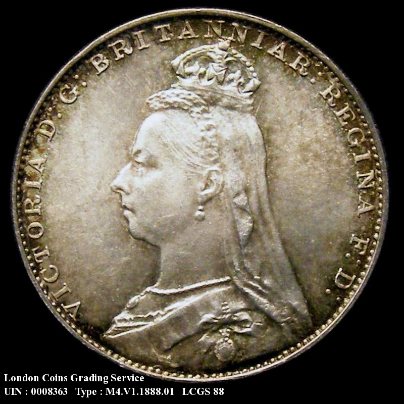 Maundy 4d 1888 Victoria. Standard type - Obverse