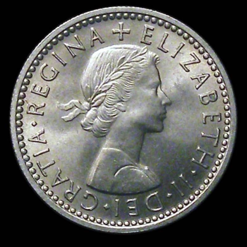 Sixpence 1956 Elizabeth II. Standard type - Obverse