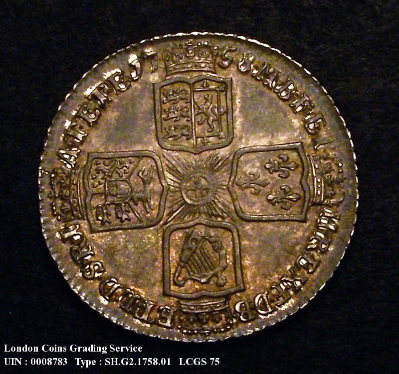 Shilling 1758 George II. Standard type - Reverse