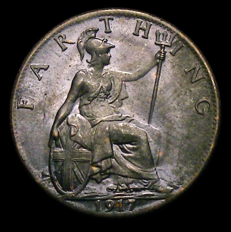 Farthing 1917 George V. Dies 2+A - Reverse