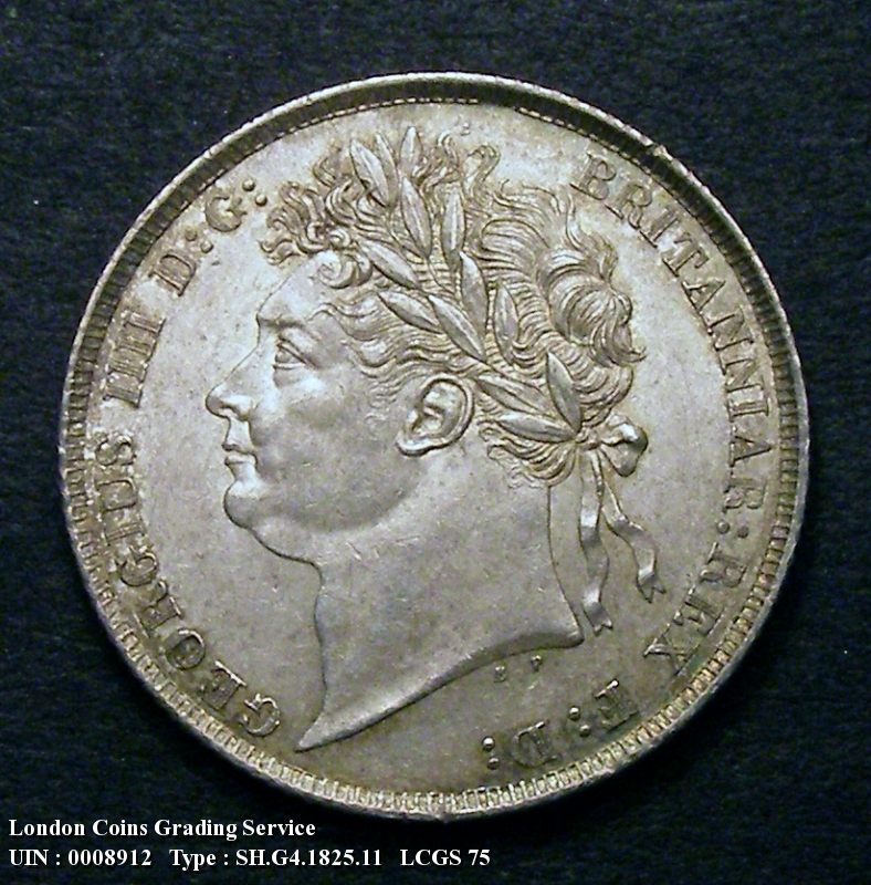 Shilling 1825 George IV. Shield in Garter. Obverse with B P. below bust. (No stop after the B) - Obverse