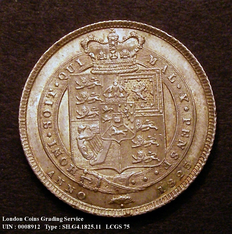 Shilling 1825 George IV. Shield in Garter. Obverse with B P. below bust. (No stop after the B) - Reverse