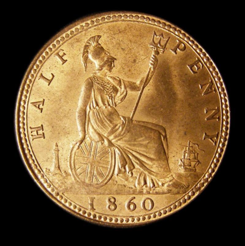 Halfpenny 1860 Victoria. Beaded Border Dies 1+A - Reverse