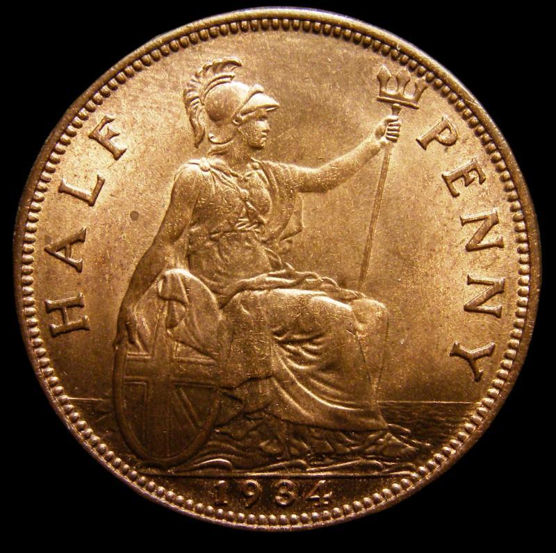 Halfpenny 1934 George V. Dies 3+B - Reverse