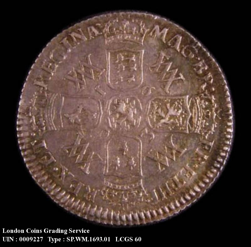 Sixpence 1693 William and Mary. Standard type - Reverse