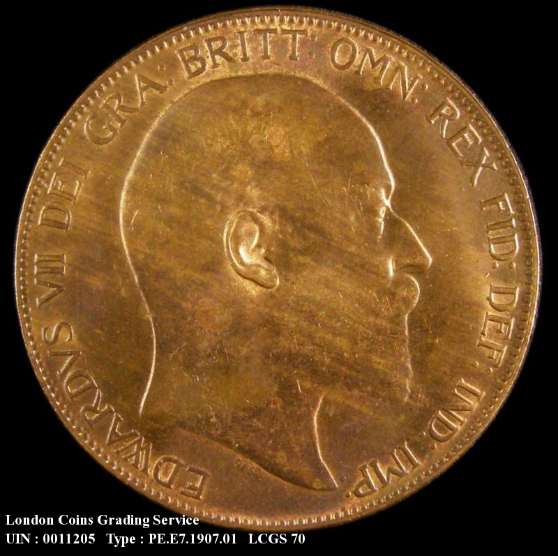 Penny 1907 Edward VII. dies 1+C tilted E in PENNY - Obverse