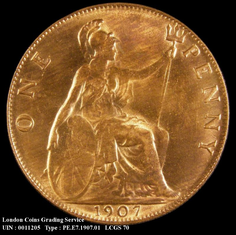 Penny 1907 Edward VII. dies 1+C tilted E in PENNY - Reverse