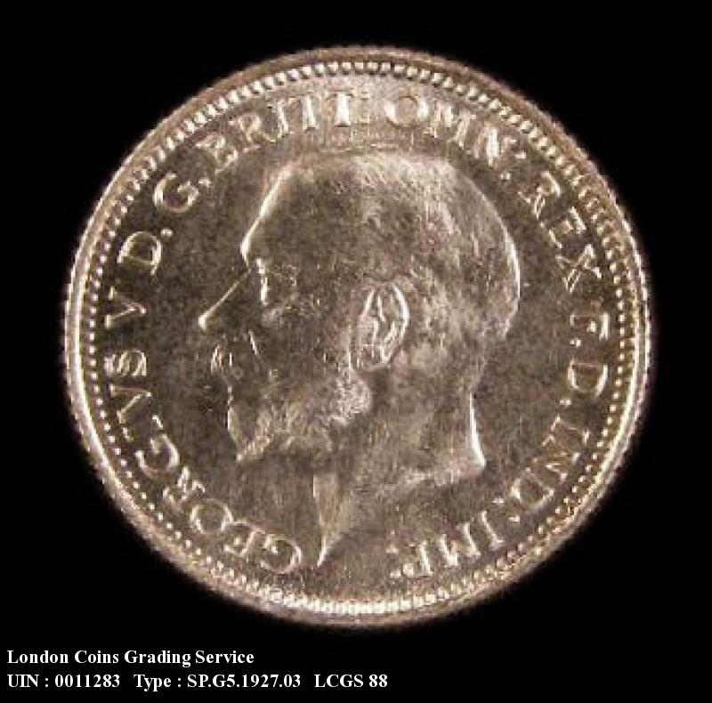 Sixpence 1927 George V. Second Reverse Proof - Obverse