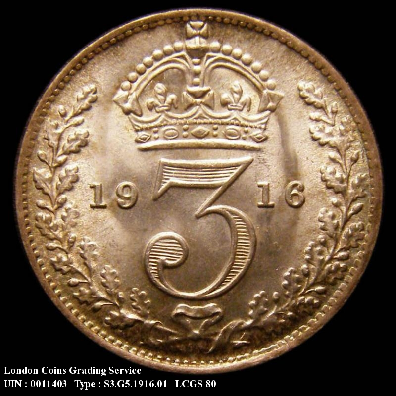 Silver 3d 1916 George V. Standard type - Reverse