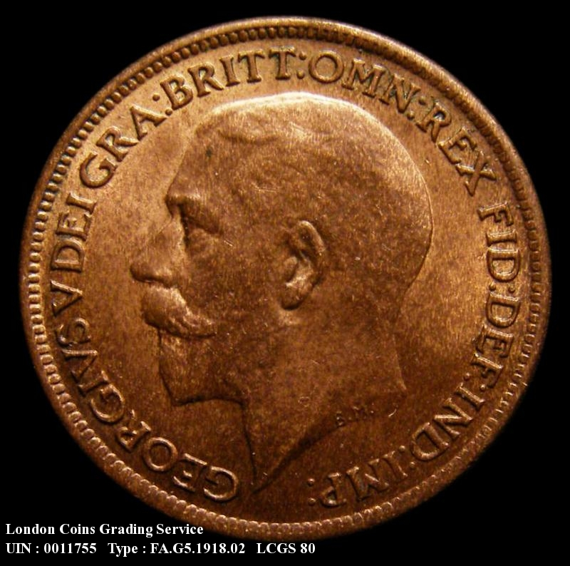 Farthing 1918 George V. Dies 2+A. Bright Finish - Obverse